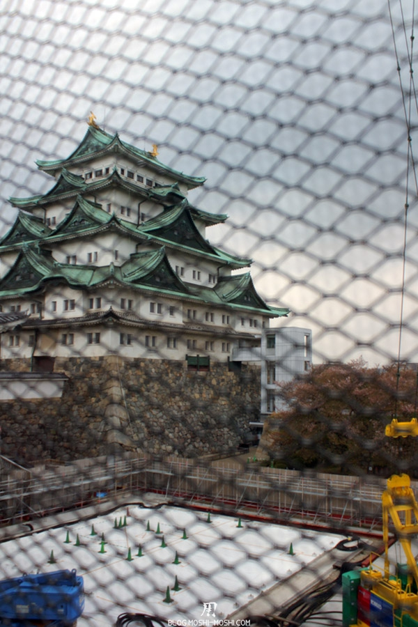 chateau-nagoya-aichi-chantier-reconstruction-chateau-derriere-grillage