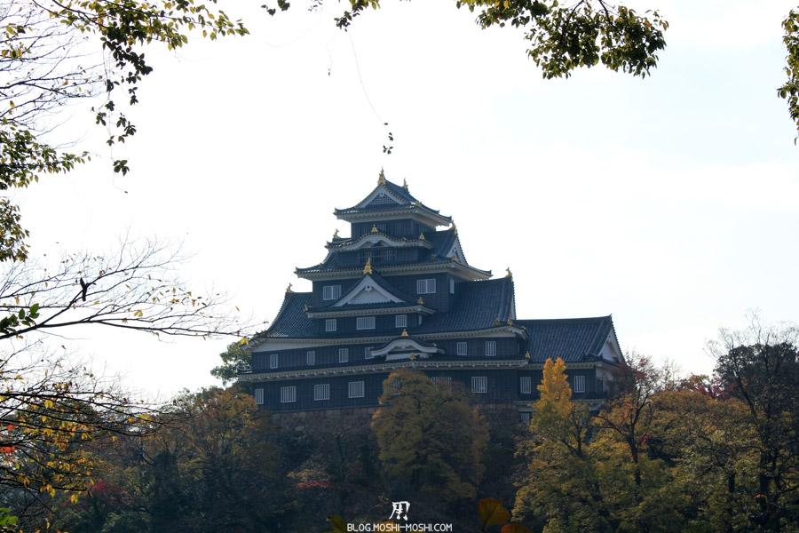 okayama-chateau-corbeau-saison-momiji-perche-entre-feuillage