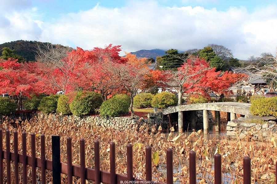 temple-tenryu-ji-kyoto-arashiyama-momiji-entree-etang-pont-pierre-lotus