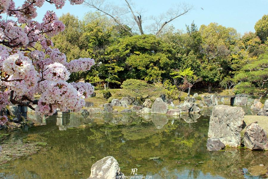nijo-jo-chateau-kyoto-saison-sakura-hortensia-etang