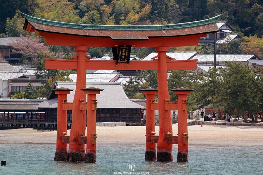 Miyajima-Hiroshima-saison-sakura-grand-torii-gros-plan-maree-haute
