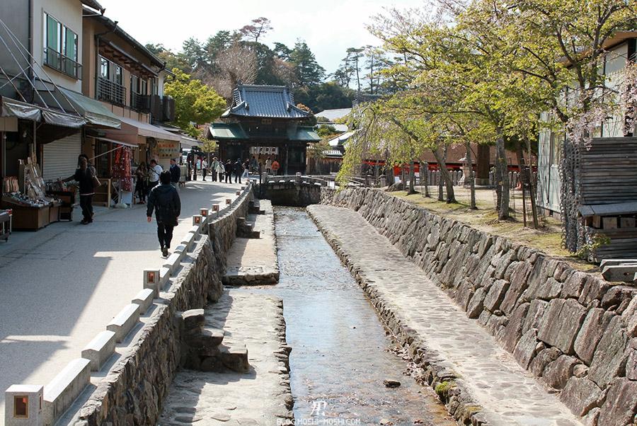 Miyajima-Hiroshima-saison-sakura-riviere-commerces-centre-ville
