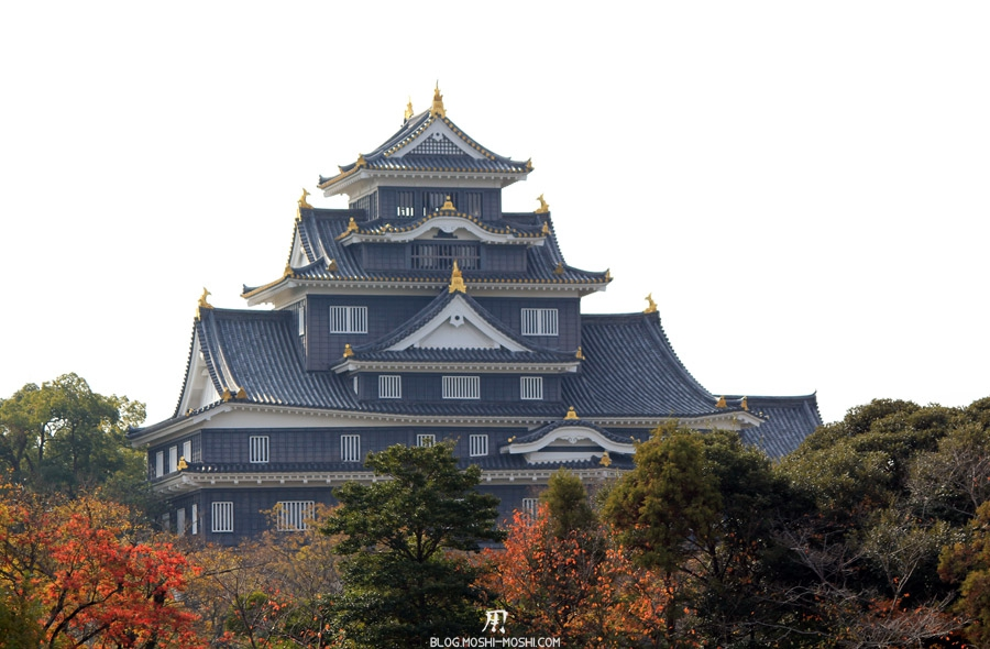 okayama-jardin-koraku-en-saison-momiji-ciel-blanc