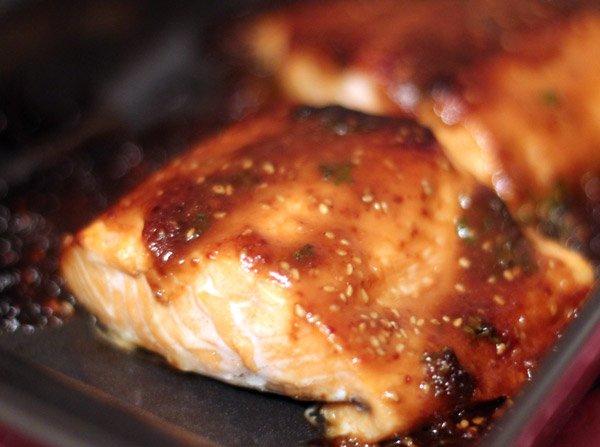 Saumon au miso - À la sortie du four, après coloration ;)