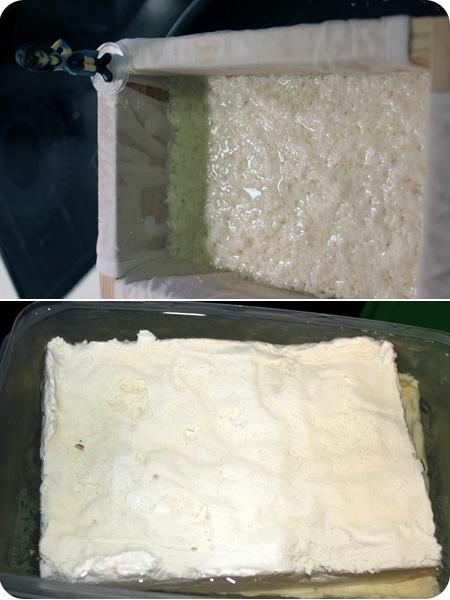 égouttage et tofu prêt
